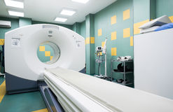 CT (计算机控制X线断层扫描术)扫描器在肿瘤学医院 免版税库存照片