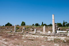 Côté antique de ville de rue d'agora, Turquie Photo libre de droits