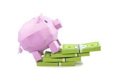 Côté de porc avec le billet de banque Image stock