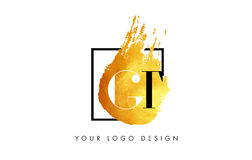 CT Gouden Brief Logo Painted Brush Texture Strokes Royalty-vrije Stock Foto's