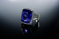 18 Ct-WG Tanzanite Diamond Ring Lizenzfreies Stockbild