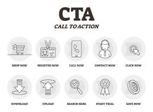 CTA oder Aufruf zum Handelns-Vektorillustration Vermarktende Werbestrategie vektor abbildung