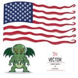 Cthulhu et le drapeau américain Drapeau américain des tentacules et des figurines des monstres Cthulhu Photographie stock