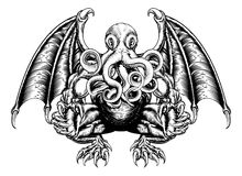 Cthulhu monster stock illustrationer