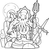 Cthulhu with a trident in his hand Royalty Free Stock Photo