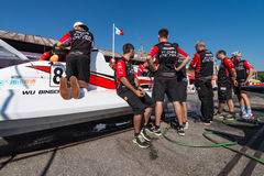 CTIC China Team boat preparations Stock Image
