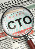 CTO Job Vacancy. 3D. Column in the Newspaper with the Jobs of CTO - Chief Technology Officer. CTO - Chief Technology Officer. Newspaper with the Job Vacancy stock photography