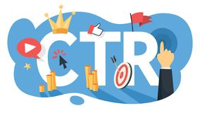 CTR acronym for click through rate. Internet campaign vector illustration