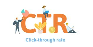 CTR, click trough rate. Concept with keywords, letters, and icons. Flat vector illustration. Isolated on white stock illustration