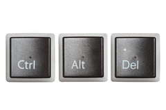 CTRL, Alt, Del keyboard sleutels die op wit worden geïsoleerdt royalty-vrije stock foto's