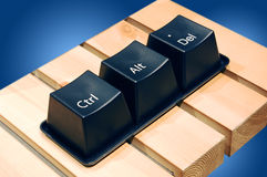 Ctrl, Alt, Del keys. Black Ctrl, Alt, Del keys with blue background Royalty Free Stock Images