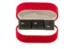 CTRL, alt, Del keys dans le cas d'anneau (relation de reprise Images stock
