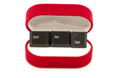 Ctrl, Alt, Del keys in ring case (restart relation Stock Images