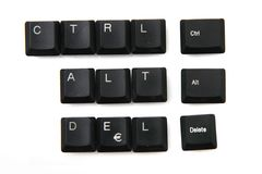 Ctrl + alt + delete from keyboar keys Stock Photo