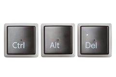Ctrl, alt, tasti di tastiera di Del isolati su bianco Fotografie Stock Libere da Diritti