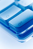Ctrl key Computer keyboard close-up blue ambiance Stock Photos
