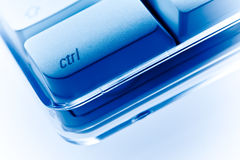 Ctrl key Computer keyboard close-up blue ambiance. Close-up of computer keyboard showing ctrl key in blue ambiance Royalty Free Stock Image