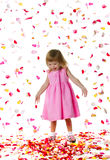 Ctue little girl and rose petals Stock Images