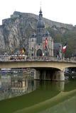 Cty sikt av lilla staden Dinant, Belgien Arkivbilder