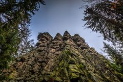 Ctyri palice rock formation in the cloudy autumn day stock photo