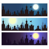 Ctyscape backgrounds. Vector banners. Cityscape backgrounds, silhouette banners with different colors Stock Photos