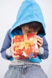 Cuál es en la caja de regalo yo pregúntese Imágenes de archivo libres de regalías