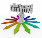 Cuál es la mayoría de la pregunta lucrativa Mark Arrows Choose Best Inve de las palabras ilustración del vector