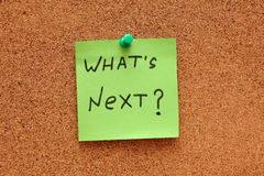 ¿Cuál es siguiente? Post-it Foto de archivo