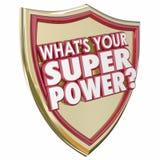 Cuál es su capacidad poderosa Capabi de la fuerza del escudo de las palabras del superpoder stock de ilustración