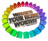 Cuál es su casero digno de palabras del activo 3d de Real Estate del valor de la casa Fotos de archivo