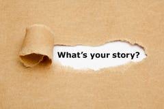 Cuál es su papel rasgado historia imagen de archivo