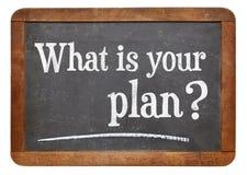 ¿Cuál es su plan? Imagen de archivo