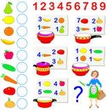 Cuántos productos un ama de casa si compre para cocinar todos los platos según recetas Cuente y escriba los números libre illustration