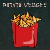 Cuñas de la patata en la caja de papel Fried Potato Fast Food en un paquete rojo Bosquejo dibujado mano realista del estilo del g Imagen de archivo
