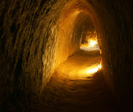 Cu Chi tunnel with underground dug out Royalty Free Stock Images