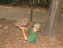 Cu Chi Tunnels, Vietnam. The Cu Chi tunnels, a 75-mile-long underground maze where fighters & villagers could hide during the Vietnam war Royalty Free Stock Images
