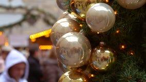 CU da decoração do mercado do Natal video estoque