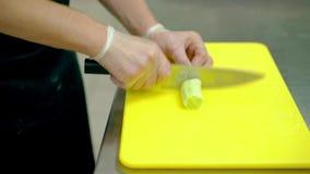 CU: Laga mat klipper mycket snabbt en ny gurka in i runda skivor med en kniv stock video