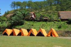 Cu Lan village, Dalat eco tourism. DA LAT, VIET NAM- NOV 9: Cu Lan village at Dalat countryside, hotel and holiday resort among pine jungle, camp on grass field royalty free stock images