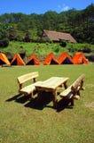 Cu Lan village, Dalat eco tourism. DA LAT, VIET NAM- NOV 9: Cu Lan village at Dalat countryside, hotel and holiday resort among pine jungle, camp on grass field stock image