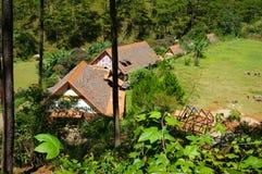 Cu Lan village, Dalat eco tourism. DA LAT, VIET NAM- NOV 9: Cu Lan village at Dalat countryside, hotel and holiday resort among pine jungle, camp on grass field stock images
