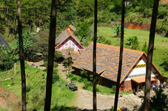 Cu Lan village, Dalat eco tourism. DA LAT, VIET NAM- NOV 9: Cu Lan village at Dalat countryside, hotel and holiday resort among pine jungle, camp on grass field stock photos