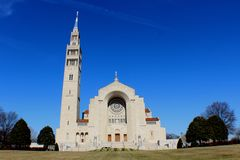 CUA. Beautiful day for shoot this church in Washington Royalty Free Stock Photos