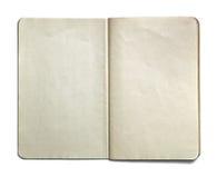 Cuaderno abierto del espacio en blanco aislado en el fondo blanco Imagen de archivo