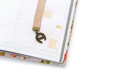 Cuaderno abierto en Año Nuevo Fotografía de archivo