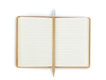 Cuaderno abierto en el fondo blanco Fotografía de archivo