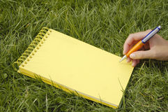 Cuaderno amarillo en hierba Fotografía de archivo libre de regalías