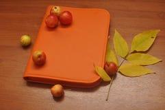 Cuaderno anaranjado con las manzanas en una tabla de madera Foto de archivo libre de regalías