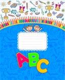 Cuaderno azul de la escuela rayado Fotografía de archivo
