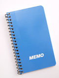 Cuaderno azul de la nota 2 Fotografía de archivo